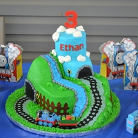 Train Birthday Cake I made this for my sons 3rd birthday party!! He loves trains!! Buttercream with fondant accents!!!