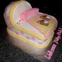 Twins Baby Cradle Got the idea off of here, thanks everyone!! She loved it! All buttercream with a few fondant accents!!