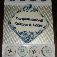 Engagement Mosaic Cake And Cupcakes The chocolate tile design matched the wedding invitation.