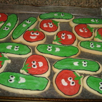 Veggietales Cookies  Larry and Bob Veggie Tales cookies. No Fail Sugar Cookie recipe and Antonia's Royal Icing. Can't go wrong. This order started out...
