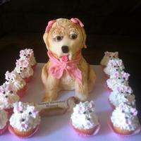 Dog Carved Cake With Dog Cupcake WASC - Cream Cheese, raspberry filling. Dog carved, iced with buttercream and covered in fondant. Cuppies are buttercream