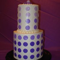 Purple Dots This turned out to be quite a tall cake! Iced in Buttercream with fondant accents in shades of purple. Roses on top are fondant.