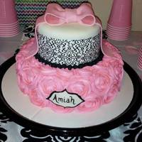 Rose Damask Baby Shower Cake damask, rose, rosette, bow, pink
