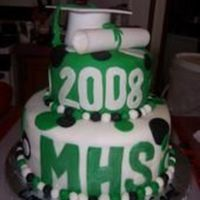 Graduation top tier is marble, bottom is chocolate, covered in MMF and all the accents are MMF, thanks for looking