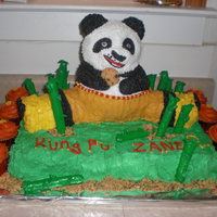 Kung Fu Panda This was for my nephew Zane's 2nd birthday. His Mom thought it was cute that I put Kung Fu Zane on the cake. The bamboo are pretzel...