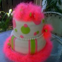 Lime Green Hot Pink Fuzzy Cake 10 and 8 in. MMF