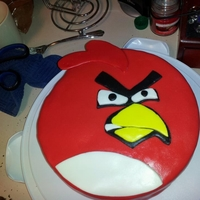 Red Angry Bird Cake My first time ever working with fondant.