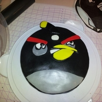 Black Angry Bird Cake My first time working with fondant.