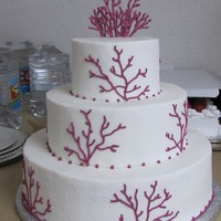 Coral buttercream with royal icing coral