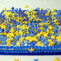 Graduation Cake   Frosted in buttercream with hand painted gumpaste stars (on wire) and white chocolate that are tinted yellow and blue.