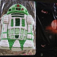 R2D2 We did Star Wars in green. The second photo, is a sword made from rock candy. Got it cool so that I could touch it, and then formed it they...