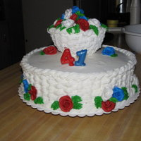 41Th Anniversary Saw this in a book and gave it a try. The top tier is styro foam covered in buttercream.