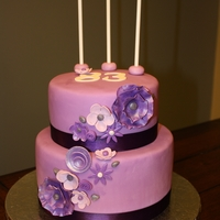 Grandma's 83Rd Purple Birthday Cake My Grandma loves purple so this is the cake I made her to celebrate her 83rd birthday. Purple fondant with purple handmade sugar flowers.