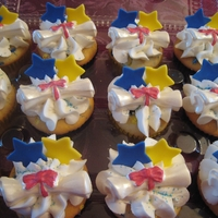 Graduation Cupcakes  Hi! I made these for my daughter's t-shirt graduation signing party for 6th grade. They are vanilla cupcakes with buttercream frosting...