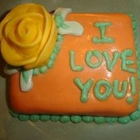 I Love You Mini Cake I had extra fondant and cake after making a cake so I made my finace an I Love You cake! lol
