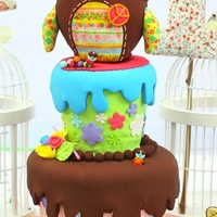 Shabby Owl Cake Handpainted gumpaste owl tops two tiered cutesy cake