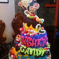 Candyland topsy turvy cake with gumpaste candies and lollies