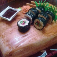 Sushi Spicy Tuna A Vanilla Layer Cake As The Board Sushi Made Out Of Rice Krispies Treats And Stuffed With Colored Fondant If You Look R  sushi (spicy tuna)a vanilla layer cake as the board sushi made out of rice krispies treats and stuffed with colored fondant. if you look...