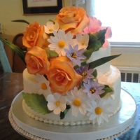 Flower Engagement Cake Gumpaste/Fondant Flowers