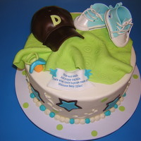 Baby Boy Cake Buttercream cake, edible baseball hat, fondant converse shoes