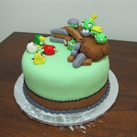 Angry Birds Cake! Marble cake, my special wedding cake frosting, homemade fondant and ricekrispie treats..