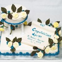 "High School Graduation 2008  Chocolate Cherry 11x15 sheet cake with 6"" round WASC with raspberry filling ornamental tier. BC icing, RI roses and apple blossoms. I..."