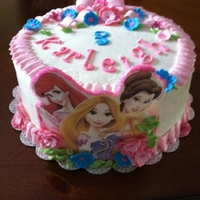 3 Princesses buttercream, fondant plaque and decorations