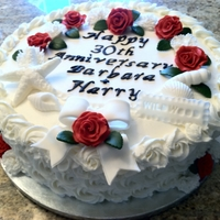 Seashells, Roses And Carnations Anniversary buttercream with fondant decorations