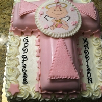 Angel Christening Cake buttercream sheet cake with edible image on fondant covered cross