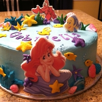 Little Mermaid buttercream, fondant plaques and decorations
