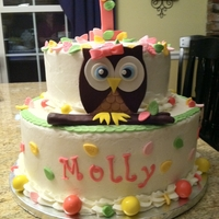 First Birthday Owl buttercream with fondant