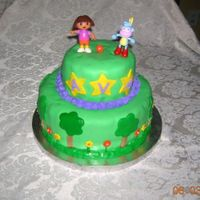 Dora And Boots Cake Butter cake 10 in and 6 inch rounds. Chocolate BC for filling and icing under fondant. MMF covering the cake. Accent pieces are made from...