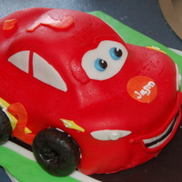 Lightning Mcqueen Chocolate chip cookie dough - Lightning McQueen birthday cake for a 2 year old.