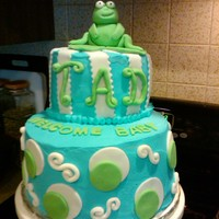Frog Baby Shower Cake Choco. Truffle cake w/raspberry filling covered in BC and MMF decorations. Very proud of my Frog the little one was named Tad.