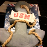 Navy Anchor Red velvet cake w/CC covered in MMF! I love this cake so did my friends!