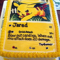 Pikachu Custom Card Frozen buttercream transfer on a yellow buttermilk cake.