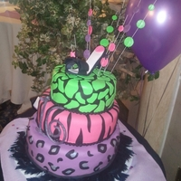 Animal Print Birthday Cake Covered in fondant, I made the shoe out of gum paste