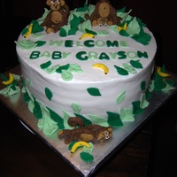 Monkey Themed Baby Shower Cake This is my first paid-for cake for a stranger and first time molding animals. Chocolate cake covered in buttercream, monkey's made of...