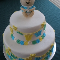 A Baby Shower Just a little twist on Wilton's cakeIts buttercream w/ fondant accents