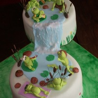 Frogs Birthday chocolate cake covered in fondant. All modelled items from gumpaste.