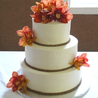 "Fall Orchid Wedding I love simple wedding cakes. 7, 10, 12"" round WASC. Orchids provided by the bride, This was the Sat after Thanksgiving 2010, so my..."
