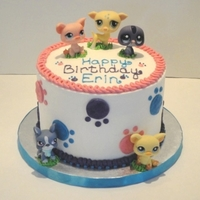 "Littlest Pet Shop Birthday   A cake for an 8 year old. All buttercream, except for the ""pets"" provided by the client---and they were sterlized ;)"