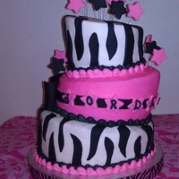 3 Tiered Zebra Cake   I made this for my niece's birthday. My first time experimenting with a topsy turvy cake. Love it!