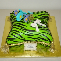 Green Zebra Pillow   A cake for a 16 year old who loves zebra print, lime green, turquoise blue and purple.