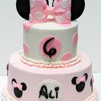 "Minnie Mouse   Minnie birthday cake, 6""/10"" buttercream with fondant details"