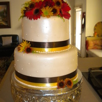 Fall Themed Wedding Cake ivory mmf with dots, ribbon and fresh flowers