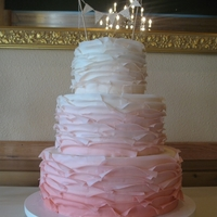 Maggie Austin Inspired Ombre ruffled ombre cake inspired by flakey ruffles. Thank goodness for my pasta machine!!