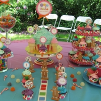 Candyland Cupcake Display Giant cupcake cake with Chocolate and Yellow Cupcakes. American Buttercream in various colors and candy accents.