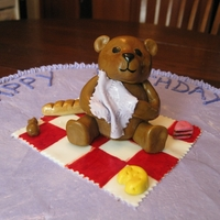 Teddy Bear Picnic Simple Round cake with Teddy Bear Picnic on top. All made hand-painted of Fondant