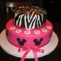 Hot Pink/zebra Cake Butter cake with Raspberry filling, covered in Hot pink and Zebra stipe Fondant with Minnie Mouse accents.